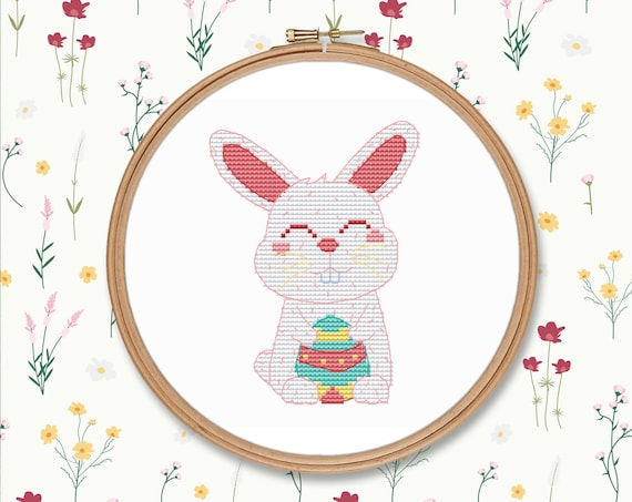 Cute easter rabbit with egg counted cross stitch pattern PDF, spring bunny  instant download embroidery holiday #CS137