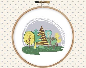 Forest cross stitch pattern pdf - tree cross stitch pattern - instant download - digital download - pillow embroidered - modern cross stitch