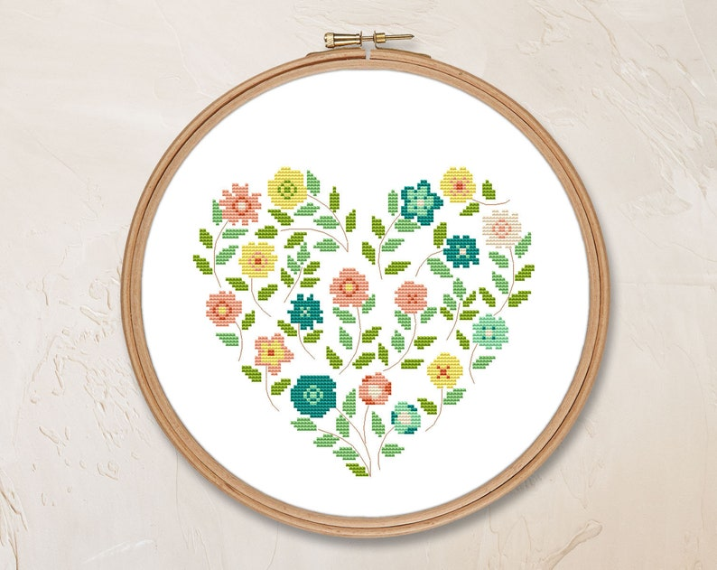 Flower heart cross stitch pattern PDF, modern floral love pillow  embroidered, instant download, spring embroidery home sweet home #CS33