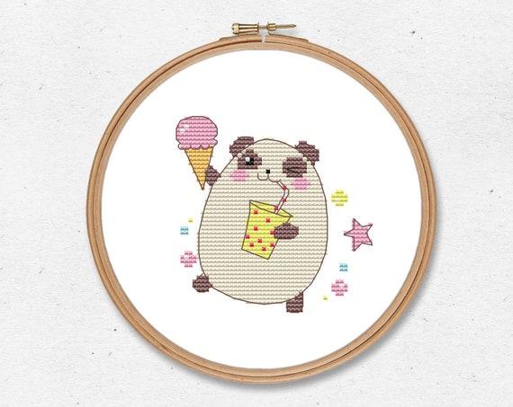 Kawaii panda bear cross stitch pattern PDF - funny cross stitch - cute  cross stitch - instant digital download - modern japan anime