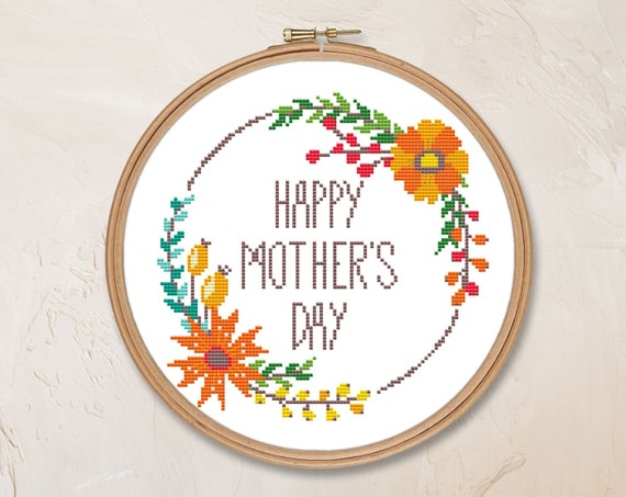 monochrome embroidery mothers day gifts from daughter Monochrome cross stitch modern embroidery nature minimalist decor