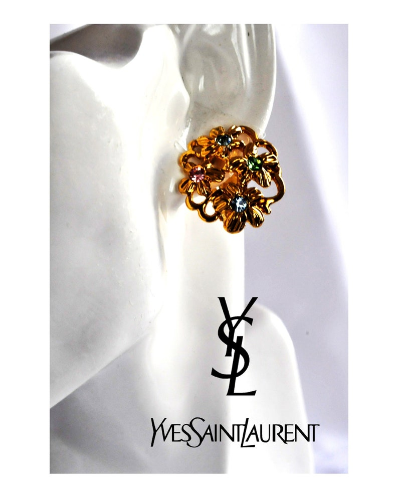 e1fe2d7f401 Yves Saint Laurent YSL vintage gold earrings 80s flower | Etsy