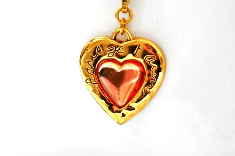21557e36398 Yves Saint Laurent pendant necklace YSL gold resin heart 1980s | Etsy