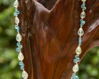 Charming Blue Quartz & Green Garnet Necklace