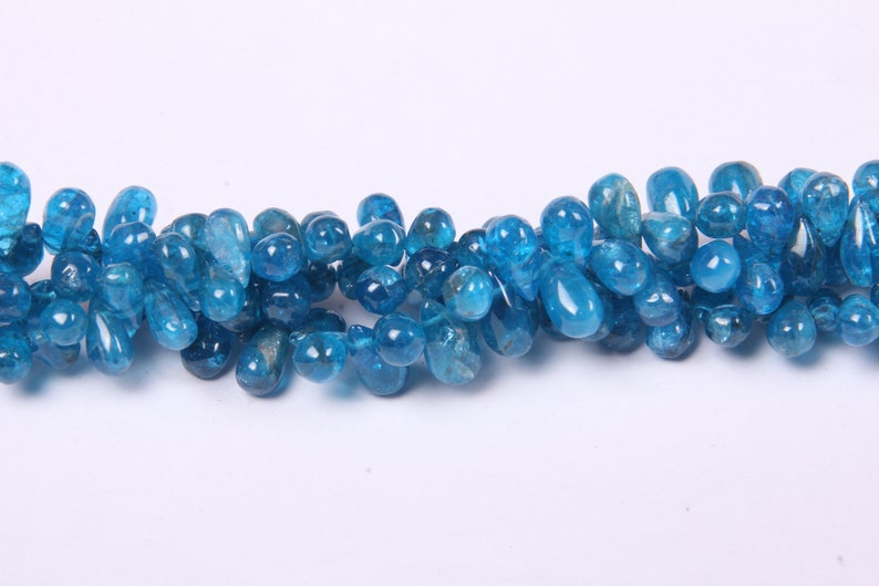 Neon Apatite Side Drilled Plain Tear Drops Beads 4 x 7 To 5 x 8 MM Approx ,7.50 Inch Long String,Size: Pack-2