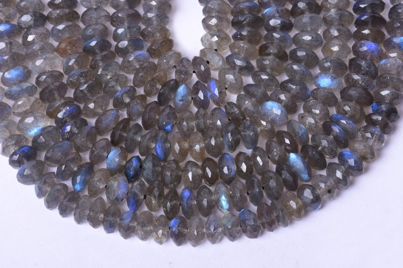 Natural Labradorite With Blue Fire Center Drilled Faceted Roundel Shape Beads 10 Inch Long String Labradorite German Roundel Shape Beads