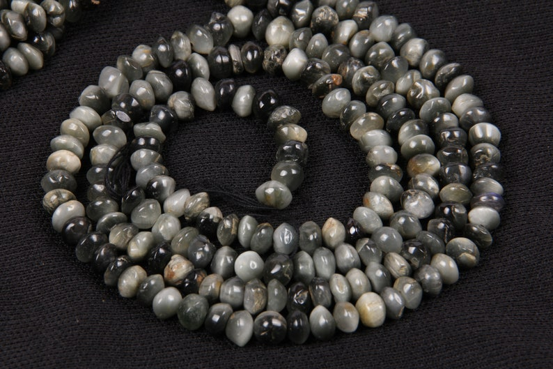 Natural Cat/'s Eye Smooth Plain Roundel Gemstones Beads 2 Strands For Jewellery 14 Inch long String  5.5 To 6 MM Approx Rondelle Beads Strand