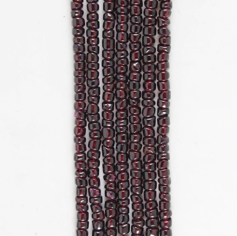 Natural Red Garnet Smooth Tyre Shape Gemstones Beads 4 Strands 14 Inch Long String 4.5 to 5 MM Approx Garnet Gemstones Beads Strand