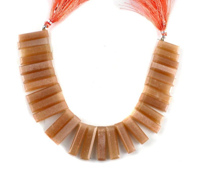 Natural Peach Moonstone 28 Pieces Faceted Sticks Beads Moonstone Sticks Beads  8 Inch Long String  Size Is 1 Inch Long Stick Approx