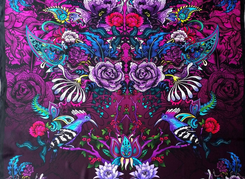 f7d18f2f99fb Tropical England Pure Silk Scarf Shawl Ladies Luxury Fashion Claret Wine  Burgundy Pattern Floral Birds Designer Wearable Art Square Shawl