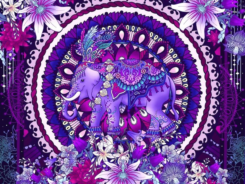 656578518b73 Sacred Elephant Silk Scarf Purple Animal Lover Gift Wildlife