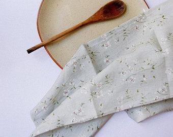 Sage green tea towel small linen flowers