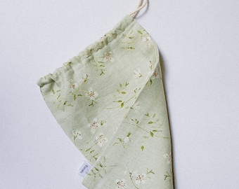 Sage green storage pouch small linen flowers