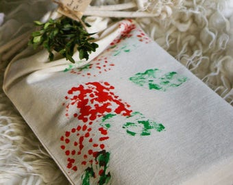 Bag with loose limited edition Noël Zéro waste - organic cotton muslin - red berries pattern