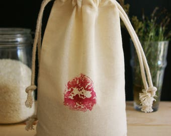Bag loose (large) Zero waste in organic cotton muslin - fig pattern