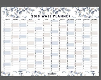 Calendar Wall Planner 2018 Indigo Leaf - Instant Download