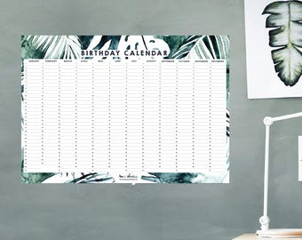 Birthday Calendar - Wall Planner - Perpetual - Instant Download - Mystic Jungle