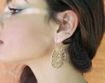 mandala hoops earrings gold hoops earrings african jewelry geometric earrings sun earrings ethnic jewelry boho earrings dainty.gift for mom