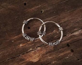 Sterling silver hoops Sterling silver earrings Ethnic jewelry. Classics sterling silver hoops earrings Gift for her. Boho earrings Creole