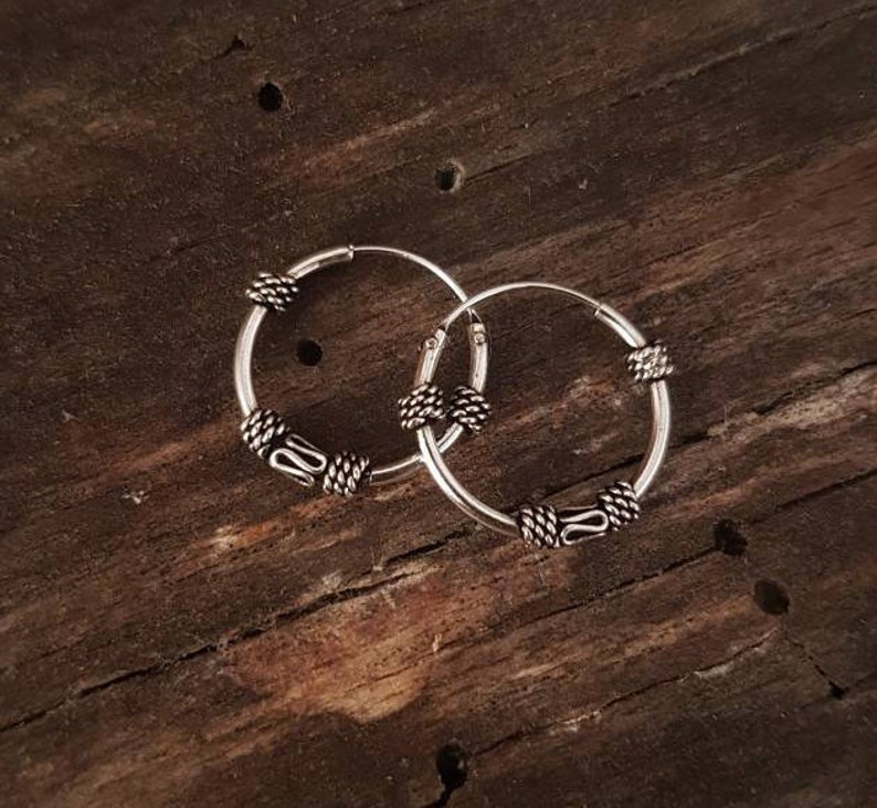 Sterling silver hoops Sterling silver earrings Ethnic jewelry. image 1