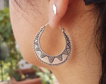Silver hoops earrings dainty earrings creole earrings boho earrings ethnic jewelry bohemian earrings beach jewelry.girlfriend gift for mom