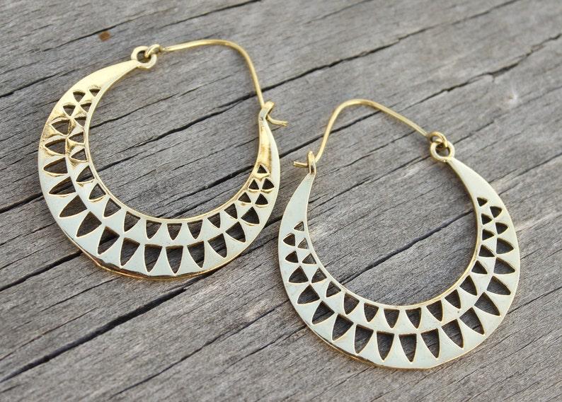 fa09fd86ffb1 Pendientes gitana argollas brass earrings gypsy earrings gold