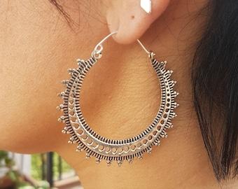 boho earrings african earrings silver hoop earrings bohemian jewelry ethnic earrings creole earrings dainty big hoop earrings.gift for mom
