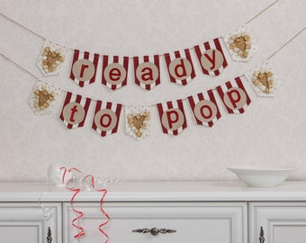 Ready To Pop Banner Baby Shower Decorations Girl Baby Shower Decor Baby Shower Banner Gender Reveal Party Decor Baby Banner Baby Shower Girl