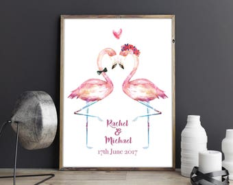 Flamingos Couple Wedding Anniversary Couples Love Gift Custom Wall Art Personalised Print