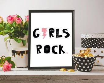 Girls Rock diseño escandinavo minimalista negro rosa Font tipografía lindo Girls salón de arte de la pared infantiles imprimir
