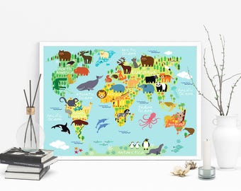 Childrens world map etsy cute cartoon animals world map art kids room wall art nursery print gumiabroncs Image collections