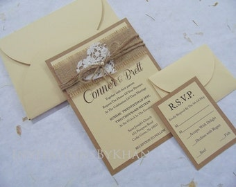 54bd1de7427 Rustic Wedding Invitations Burlap Kraft Paper With Lace   Burlap Wedding  Invitations