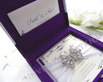 Purple Silk Couture Luxury Wedding Invitation Box with Buckle Rhinestone Embellishment Brooch and Satin Ribbon Bow