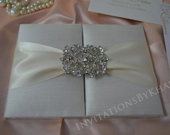 Silk Wedding Invitation Folio Luxury Wedding Invitation