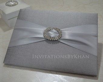 Wedding Invitations Silk Bi-Fold Couture Wedding Invitations Luxury Invitation Folio With Ribbon And Rhinestone Brooch