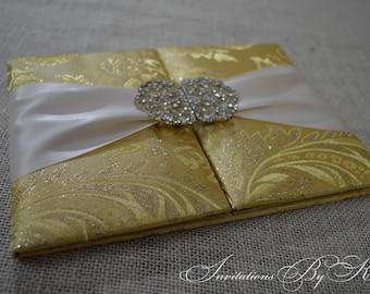 Luxury Wedding Invitation, Silk Wedding Invitation Folio, Silk Invitation Folio, Silk Wedding Invitations, Brocade Invitation Folio