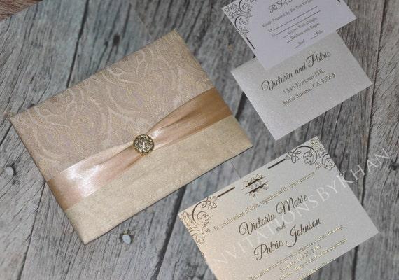 silk invitation folio brocade wedding invitation bi fold etsy