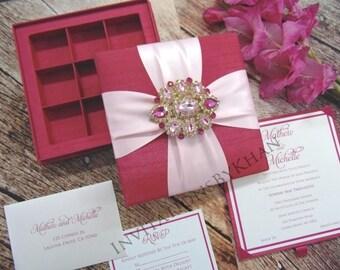 Beautiful Luxury Silk Wedding Invitation Box With Rhinestone & Brooch
