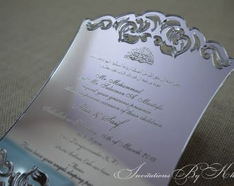 Laser Cut Etched Acrylic Wedding Invitations, Silver Mirrored Engraved Acrylic Wedding Invitations, Mirrored Acrylic Wedding Invitations