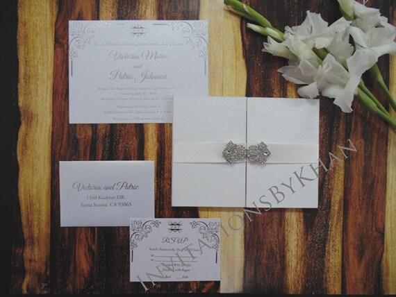 white wedding invitations silk gate fold wedding invitation etsy