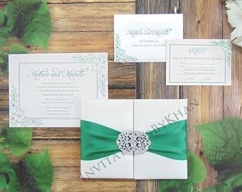 Silk Wedding Invitation Folio With Rhinestone Wedding Invitations Embellishment and Satin Bow Wedding Invitations