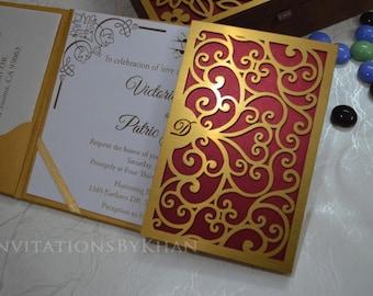 Wedding Invitations Laser Cut Gate-Fold Wedding Invitations Luxury Wedding Invitation Folio
