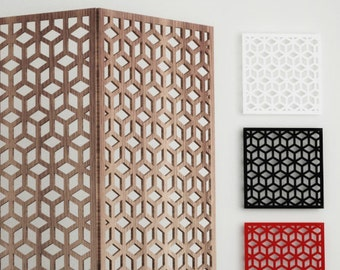 CUBE SCREEN PANEL - cnc template cutting file, room divider, vintage floating, wall panel, plasma cut, privacy screen, home design idea