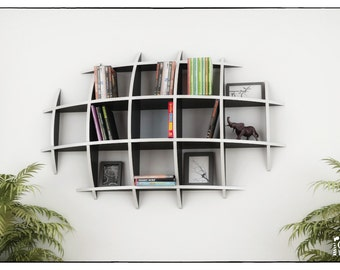 oval bookcase template cnc cutting file sliced 3d model floating shelves hanging bookshelf bookshelves wall shelf living room - Wall Hanging Bookshelves