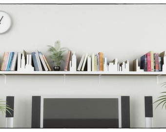 city silhouette shelf laser cnc plans template cutting file floating shelves hanging bookshelf bookshelves wall shelf living room - Hanging Bookshelves