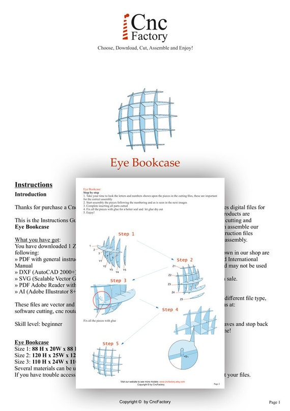 EYE BOOKCASE Cnc plans template cutting file Sliced 3d   Etsy