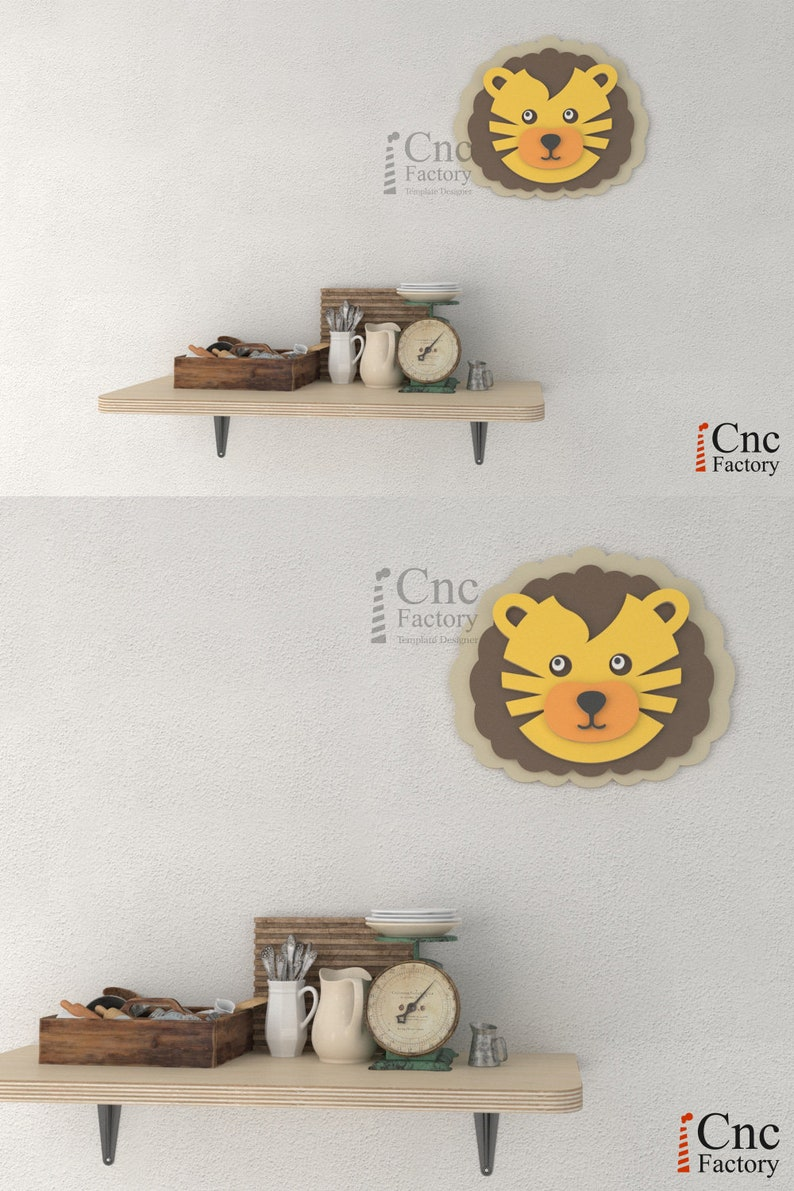 LION HEAD - Diy Room Decor - Cardboard Art for Laser Cutting - 3D Trophy to  Assembly - Download PDF