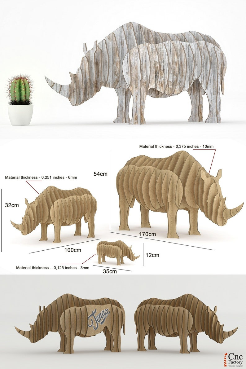 RHINO DESK Template cut file projects laser machine sculptur rhinoceros  patterns sliced puzzle nature zoo wood diy plans dxf ai svg