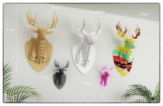 deer head 3d puzzle template cutting file faux taxidermy etsy