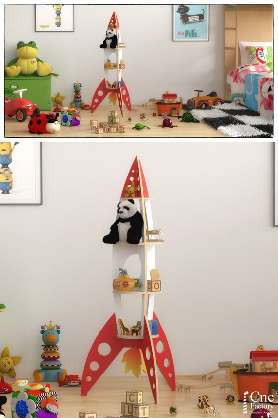 ROCKET SHELF  - Template cutting file - Rocket shelving stand - laser and cnc router cutting plans, toy bookshelf, wooden puzzle